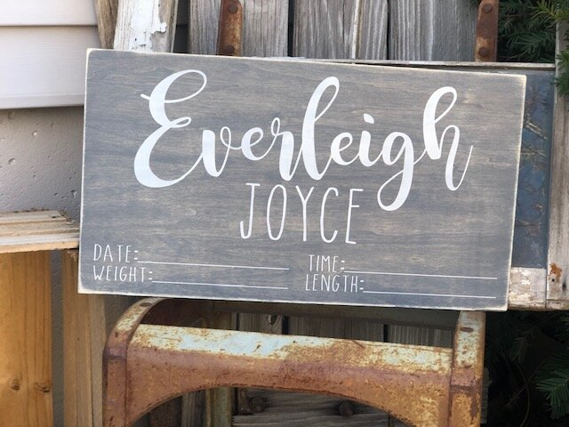 DIY painted baby name and stats sign