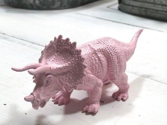 Make your little girl's dinosaur room dreams come true. How to spray paint cheap plastic dinosaurs to make them girly. DIY girl themed dinosaur bedroom for your daughter.