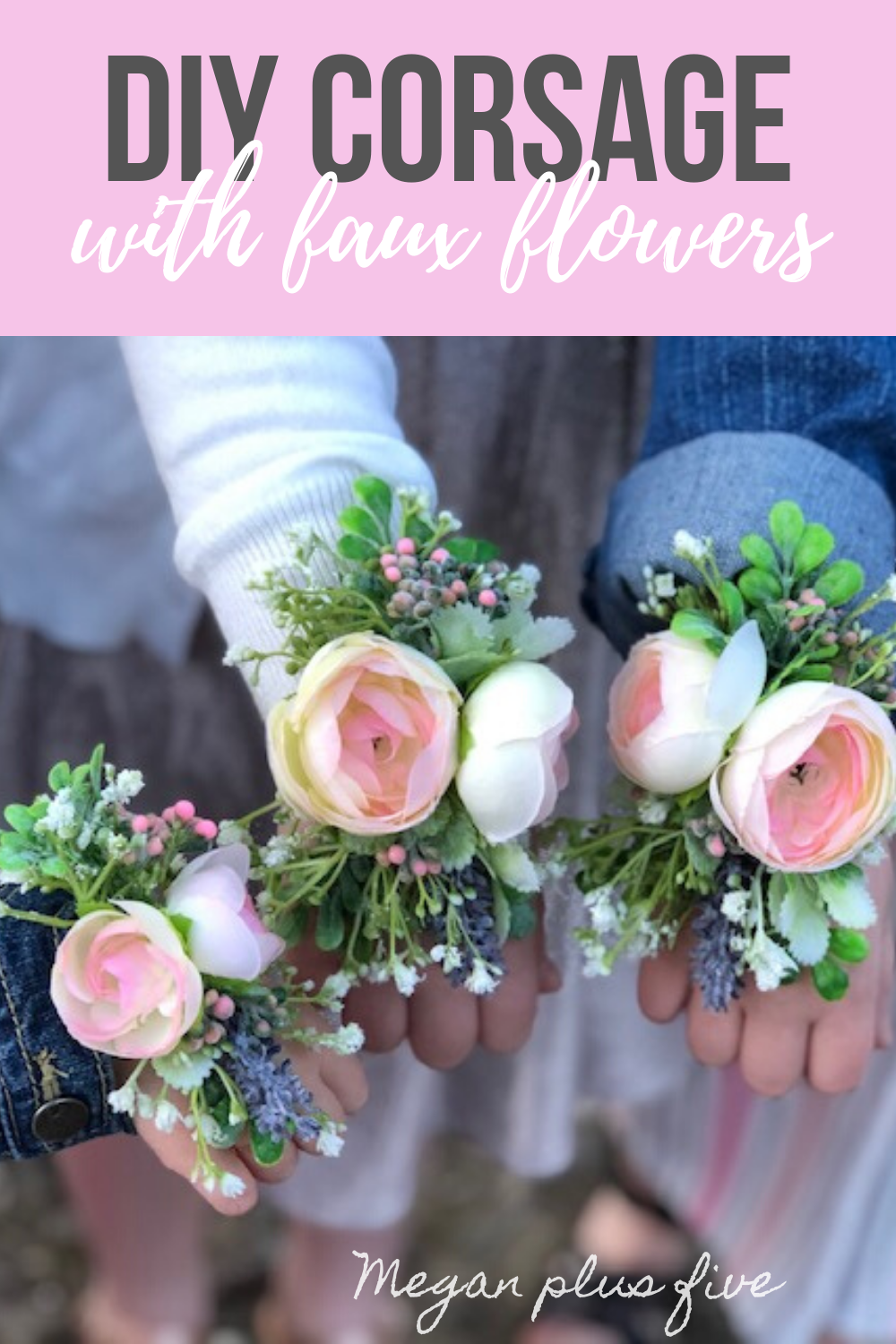 DIY corsage made with faux flowers. How to make a corsage for little girls with fake flowers from Walmart. Silk flower easy corsage for spring, prom, weddings, father daughter dance.