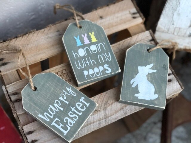 DIY mini Easter wooden tags