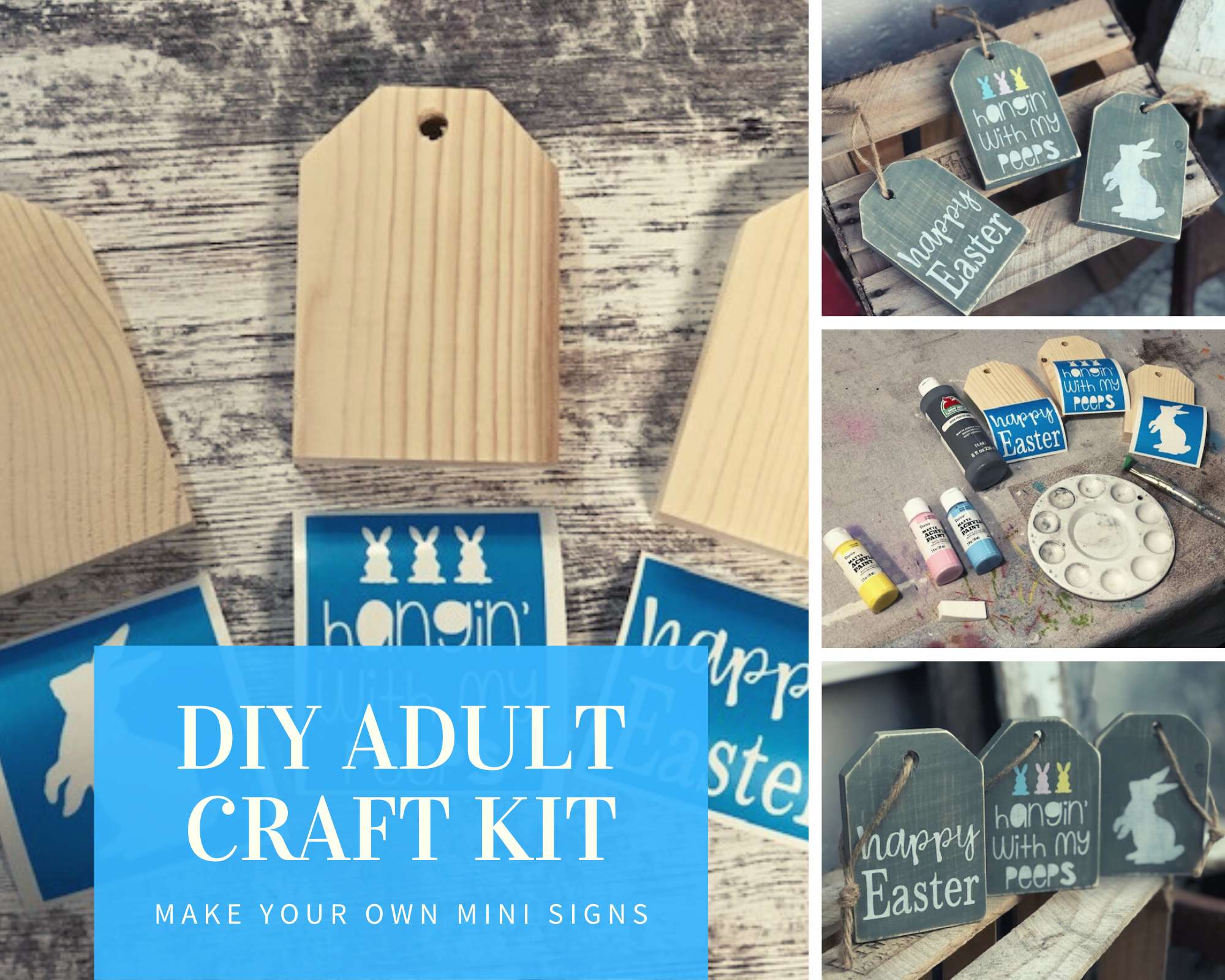 DIY mini wood tags for Easter. How to use your Cricut to make wood signs for Easter. Make your own farmhouse tray mini signs for spring.