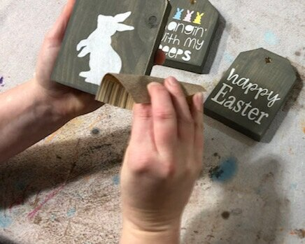 DIY mini wood tags for Easter. How to use your Cricut to make wood signs for Easter. Make your own farmhouse tray mini signs for spring. Fun rustic Easter and spring craft for adults.