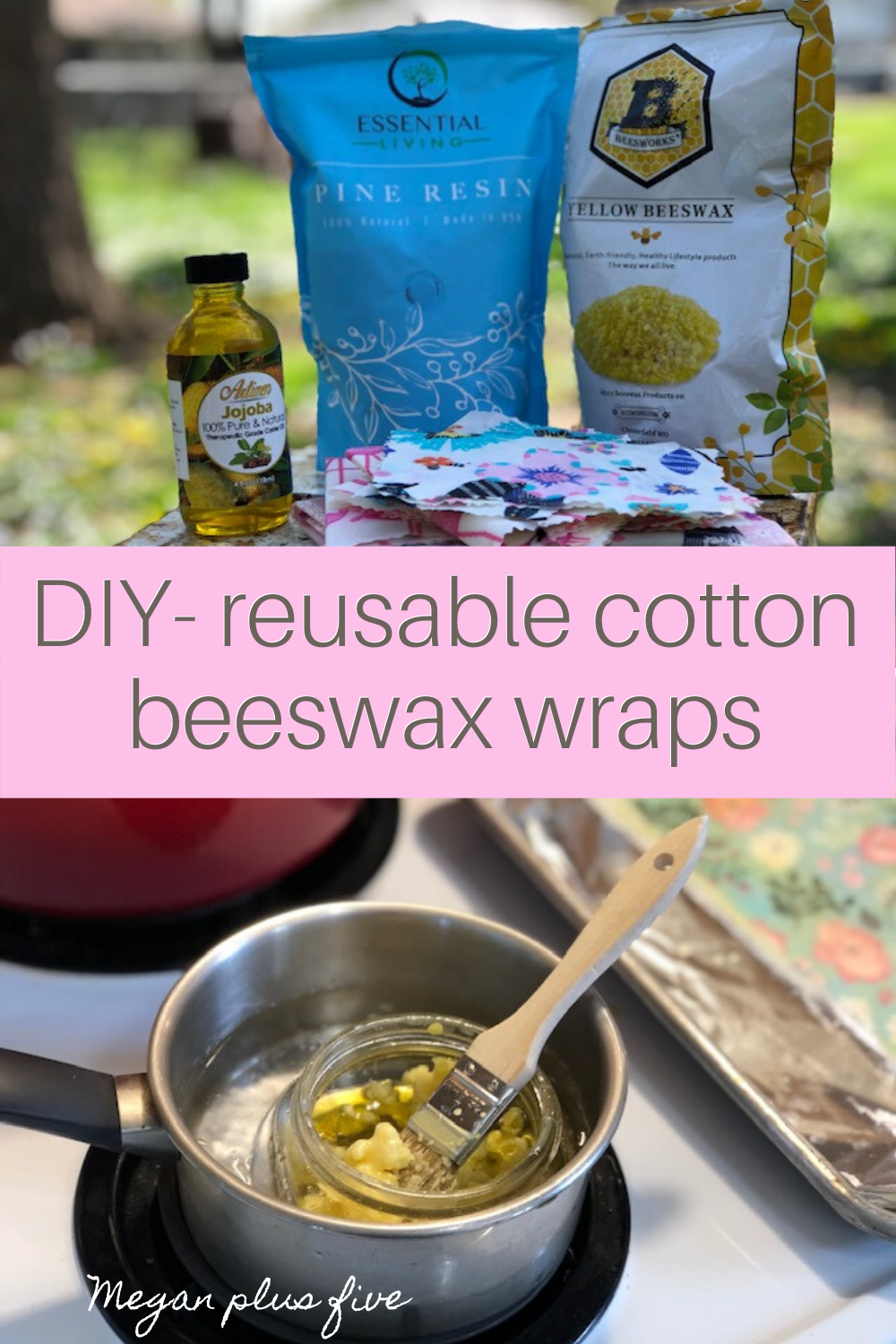 How to make resuable saran wrap. DIY beeswax cotton food wraps made with pine resin. Save money in the kitchen by making your own fabric food wraps.