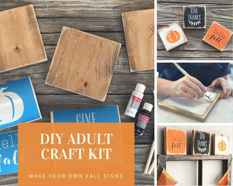 DIY painted fall signs. How to make your own farmhouse style signs for your fall themed decor. These painted tiny signs are so perfect for coffee bars, tierd trays and mantles. This trio of hello fall, give thanks, and a pumpkin are hand painted in orange, black and white, the classic fall colors. This tutorial will take you step by step on how to make your own stenciled wooden signs at home.
