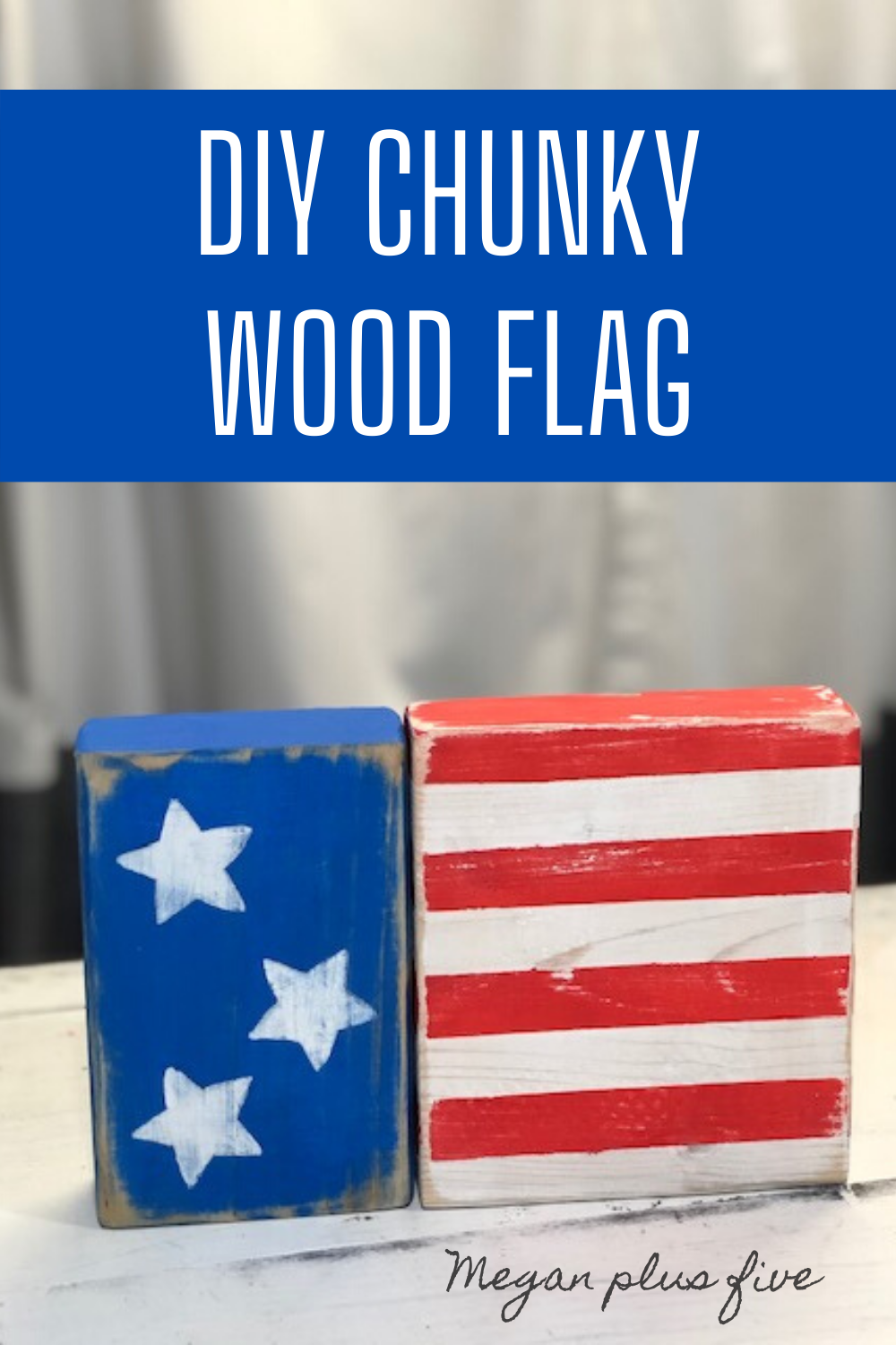 DIY CHUNKY WOOD FLAG, make your own wood flag from scrap 2x4 lumber. How to make a wood flag using 2x4 and 2x6. Easy American flag tutorial.