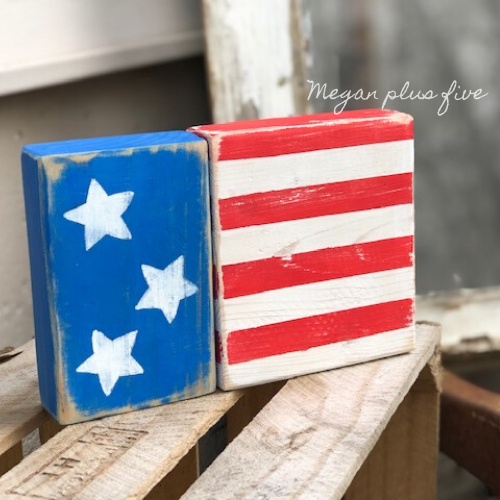 How to make a 2x4 American flag. DIY chunky wooden flag for your primitive rustic home decor. This tutorial will show you how to paint and distress your own wood flag to tie in with your 4th of July, Independence Day, farmhouse style decorations.