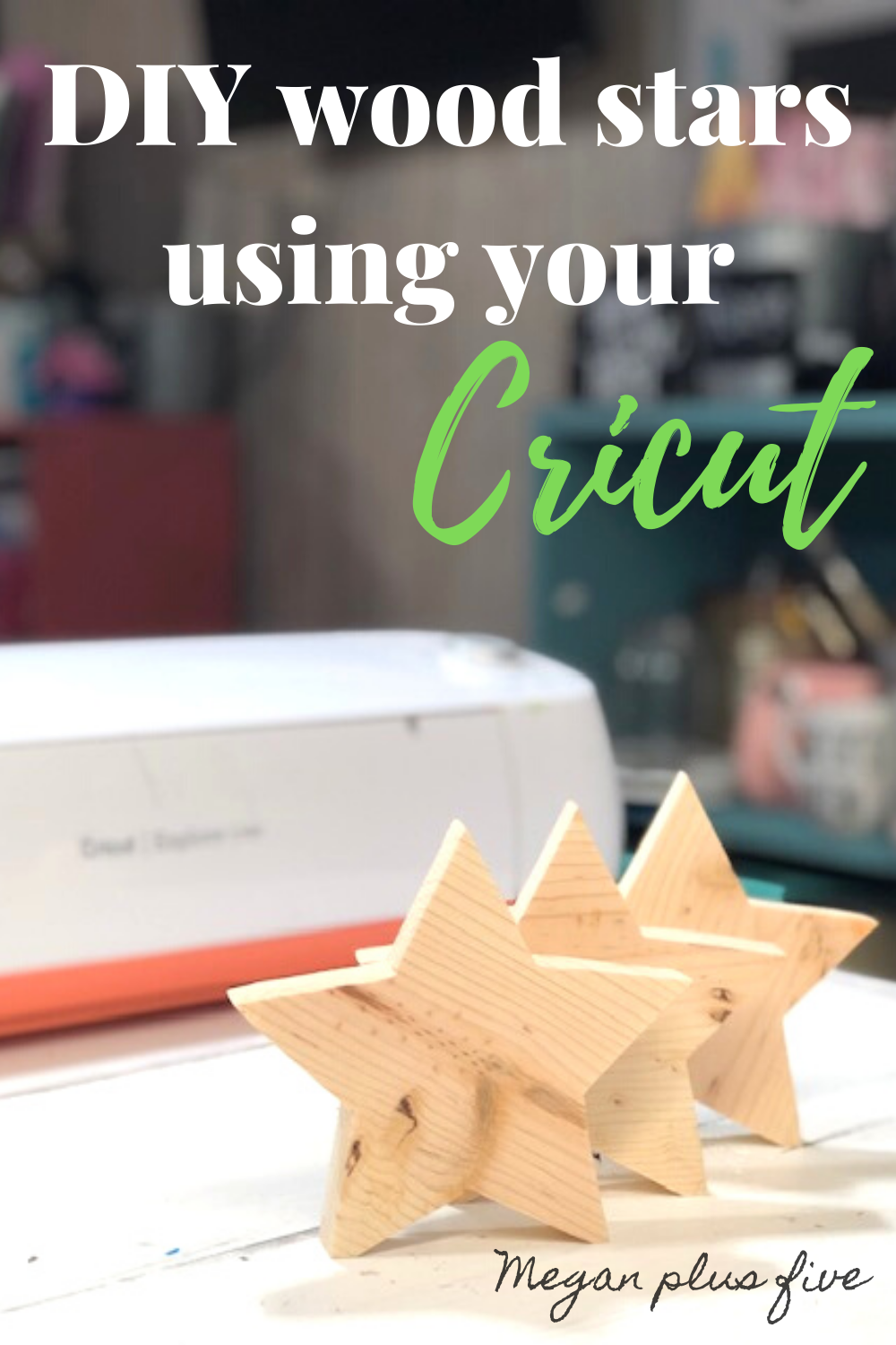 How to use your Cricut to make wood star cutouts. Learn how to make templates with your vinyl cutting machine to cut shapes and letters out of wood.