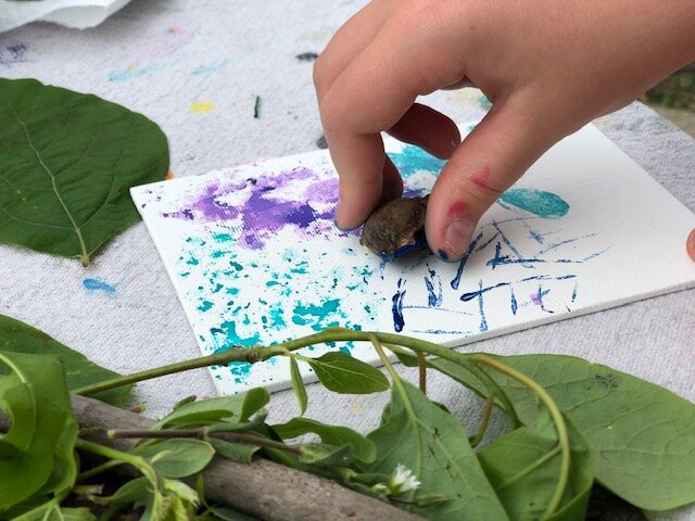 How to paint with nature. Use twings, leaves, cloves, flowers, anythgin you find in nature to make a painted canvas masterpiece. Use food coloring or acrylic paint and let your kids explore the power of painting with items that aren't the normal paint brushes.