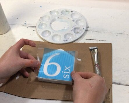 How to make mini wood houses from a 1x4. Stenciling a wood family number sign. DIY rustic farmhouse decorations to make at home, easy