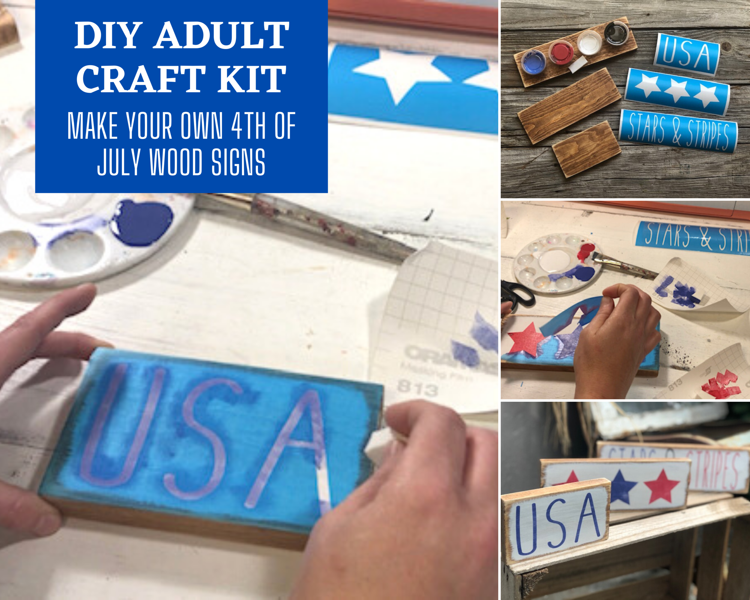 DIY craft kit for adults for the 4th of July. Make your own mini wood tiered tray signs with this craft kit. How to paint mini rustic wood signs. DIY patriotic crafts for adults