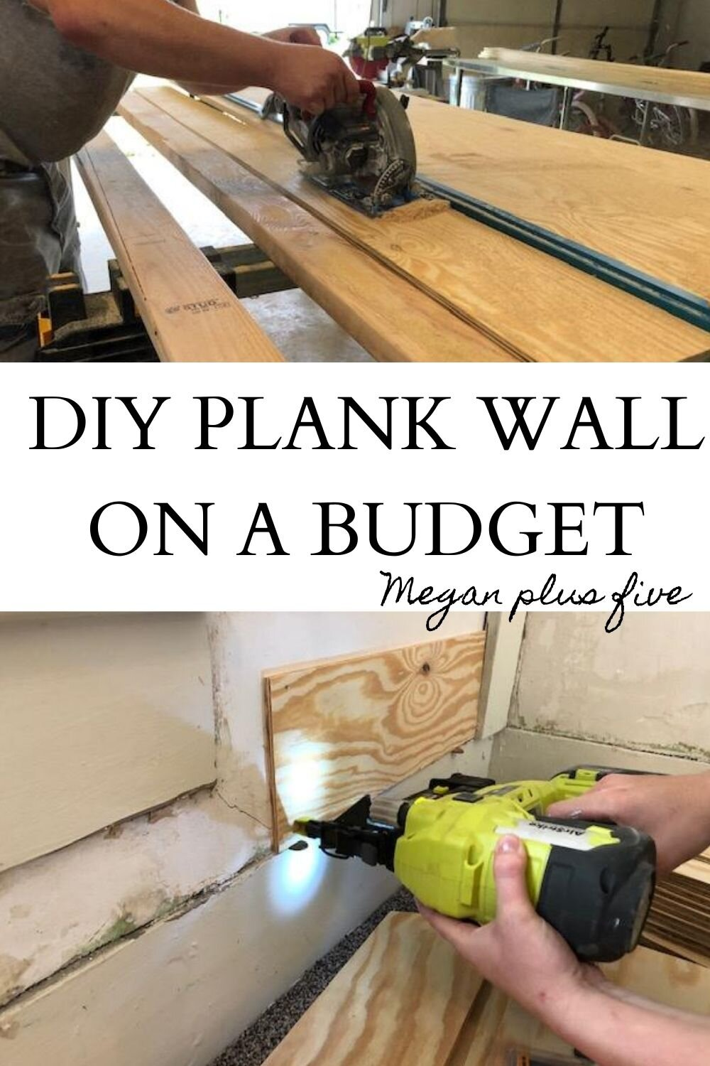 DIY plank wall, how to make your own plank wall on a budget. How we made a faux plank wall for less than $50, shoe string budget bedroom remodel. Plywood panel planked wall for your home.