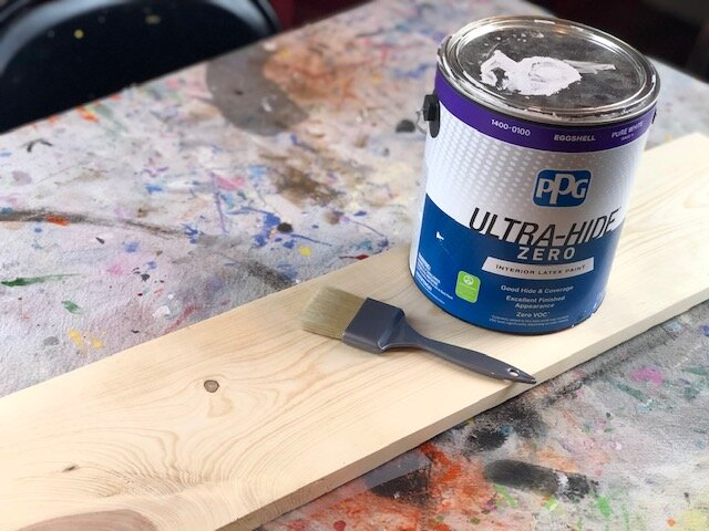 Because I did a reverse stencil method, not a traditional stencil method, I added lines onto my stencil to make it super easy to align on my wood base. Then I set my stencils aside till I needed them.