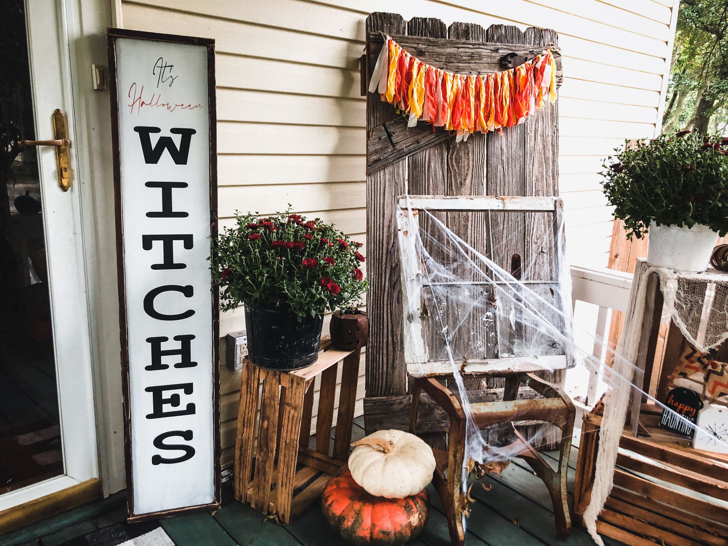 Rustic It's Halloween Witches framed leaning porch sign + FREE SVG