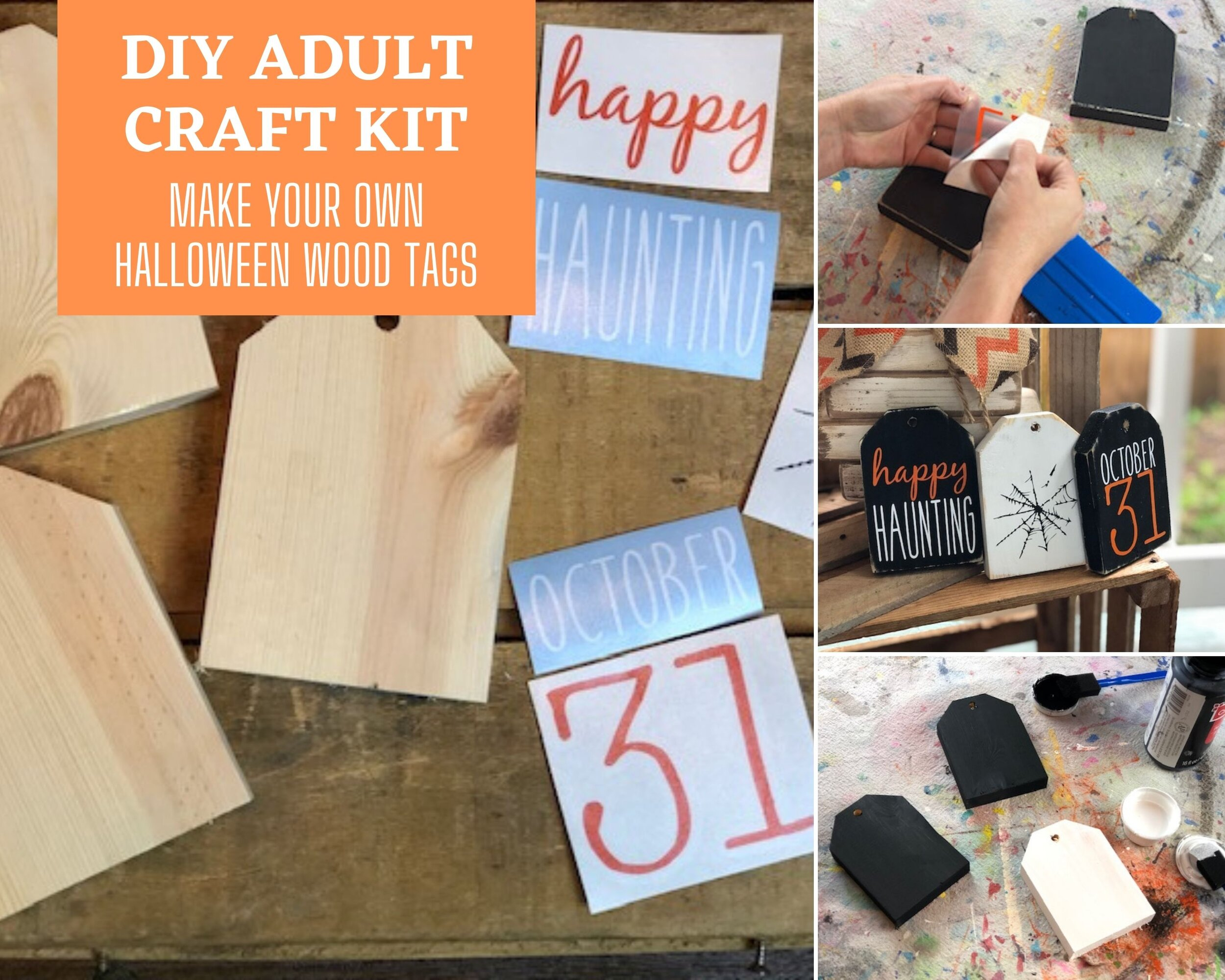 DIY Halloween craft kits for adults. Craft at home party kit for fall. Wood tags for fall