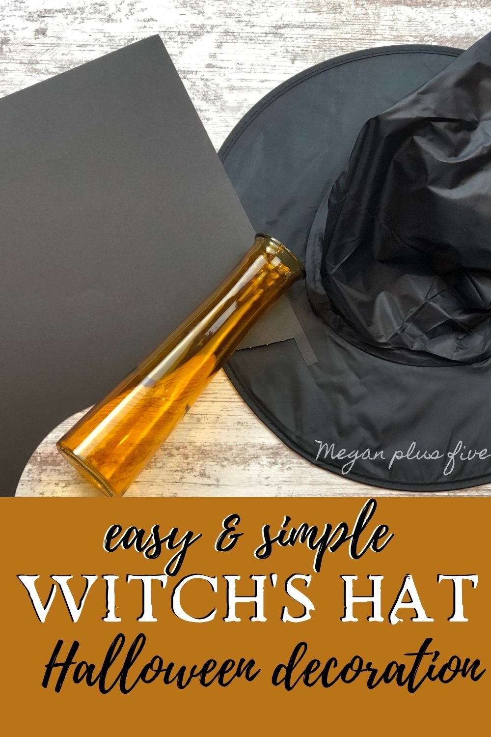 How to make an easy and cute Halloween decoration using a Dollar Tree vase and a witch hat. DIY Halloween decor using your Cricut cutting machine. Make your own adorable witch hat Halloween decoration.