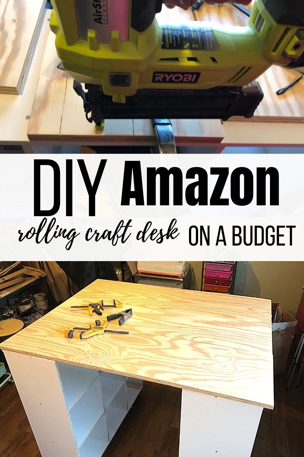 How to make a rolling craft desk on a budget. DIY Amazon 9 cube organizer standing tall craft desk. Non ikea craft desk craft.