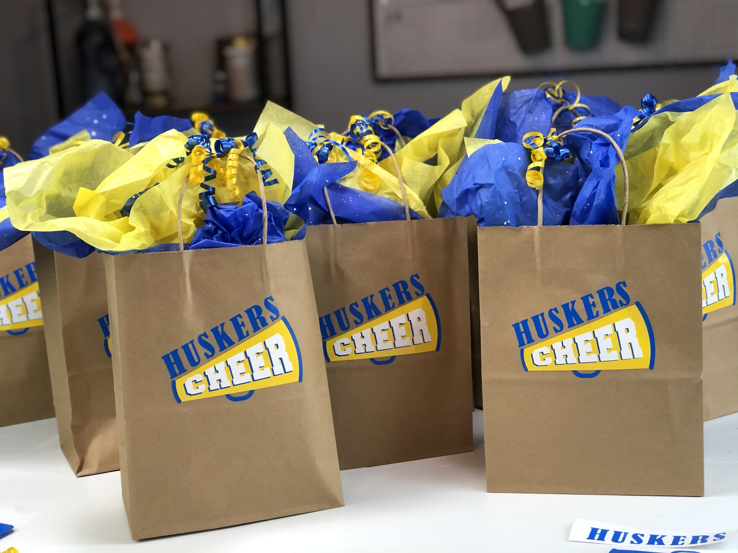Cheerleader gift bags that are quick, easy, and inexpensive. Put together cute pampered gift bags for cheer appreciation gifts for the end of the season. Use your Cricut to make personalized vinyl decals.