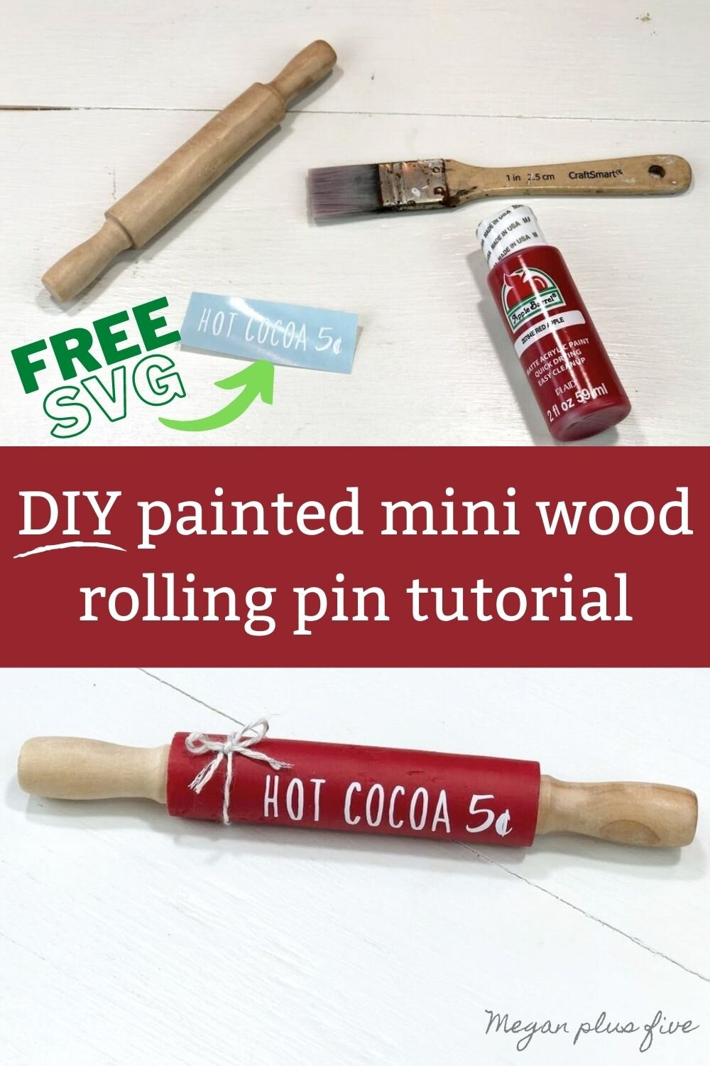 DIY mini wood rolling pin for tiered tray decorations for winter. How to make a hot cocoa themed coffee bar mini rolling pin accent plus free SVG. Make a painted wooden rolling pin for your rustic farmhouse home decor.