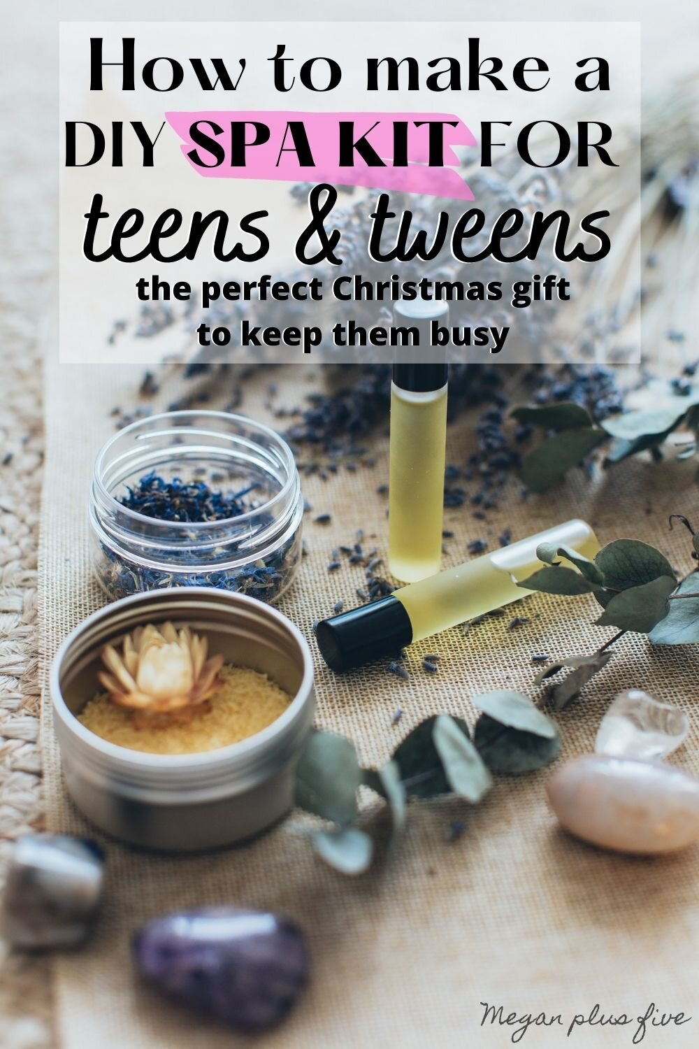 DIY spa kits for teens. Great gift to give teens and tweens for Christmas is a DIY spa experiment recipe kit. Let them make their own lotions, bathbombs, essential oil sprays, soaps, face masks, and more.