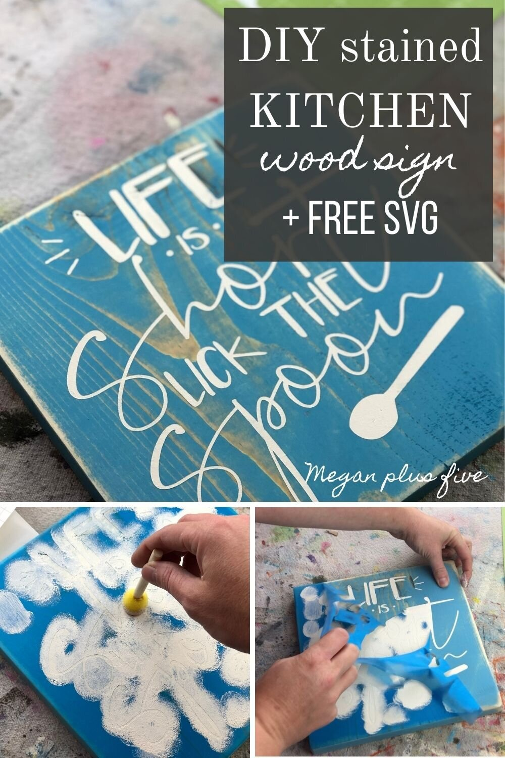 DIY painted wood sign using your Cricut. How to get crisp lines when stenciling using stencil film.