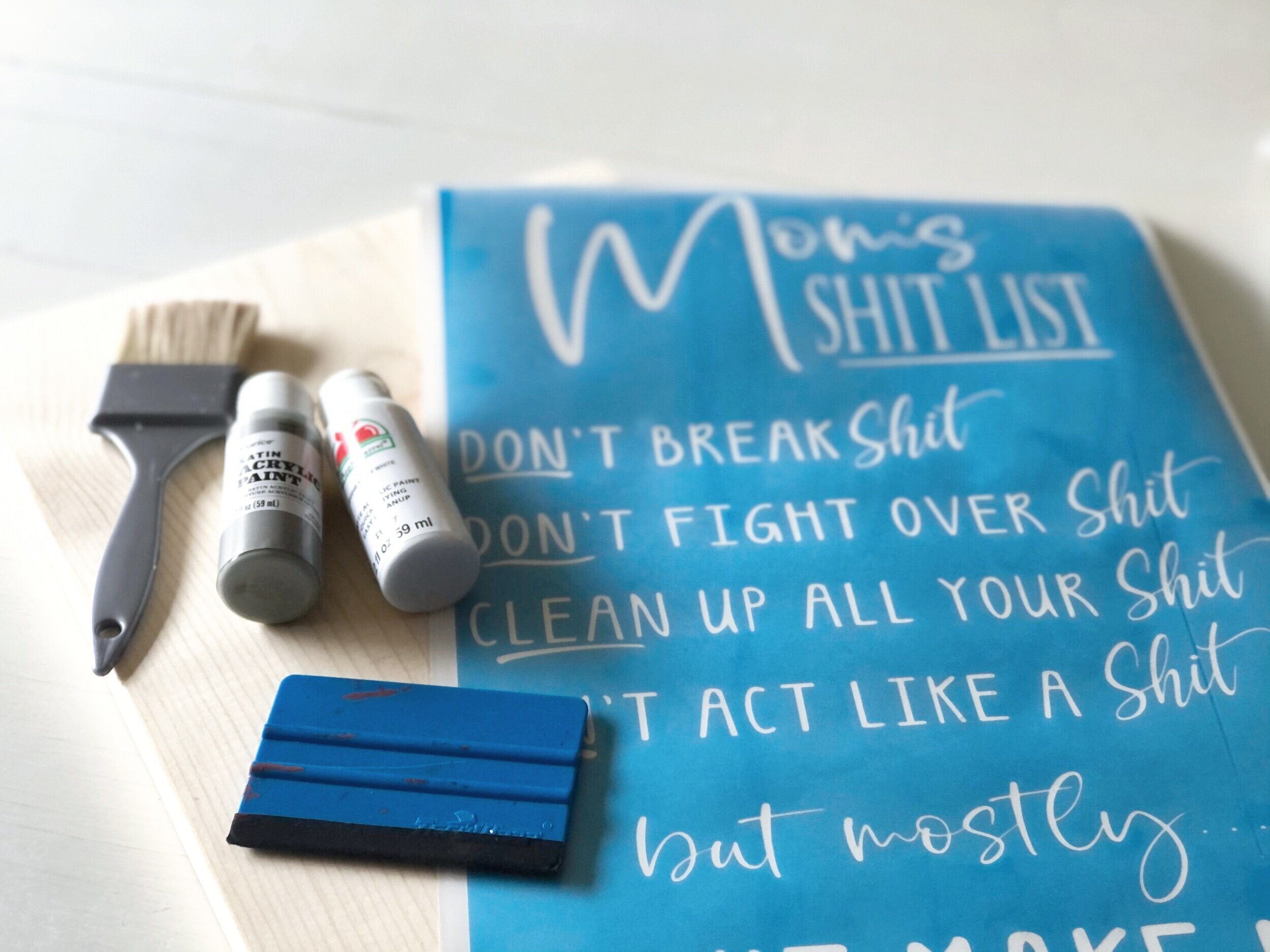 How to stencil on wood using your Cricut. DIY mom's shit list wood sign free SVG. How to paint a lettered wood sign step by step tutorial with pictures.