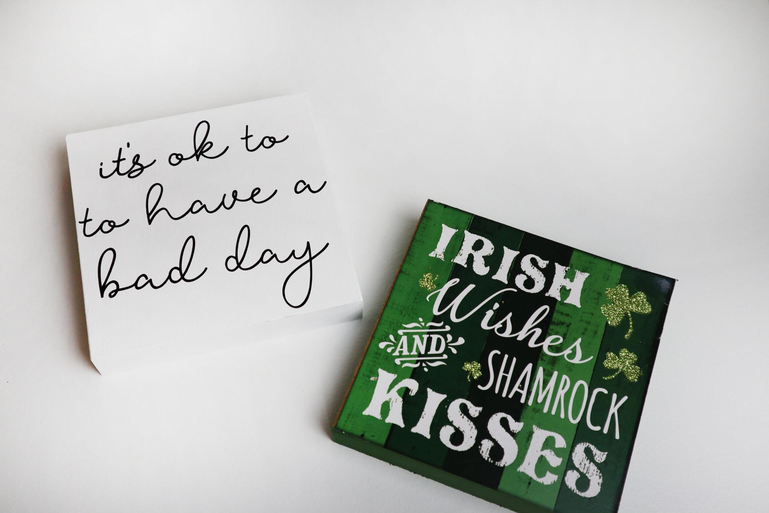 Dollar Tree mini St. Patrick's Day sign makeover + FREE SVG