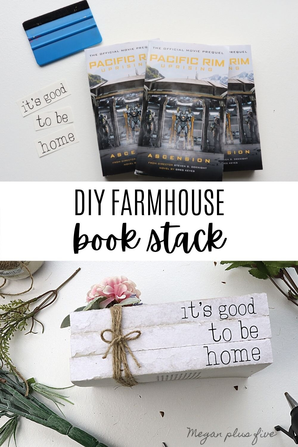DIY farmhouse book stack using real book and vinyl decals from your Cricut cutting machine. Make your own simple rustic book stack easy & simple from Dollar Tree books.