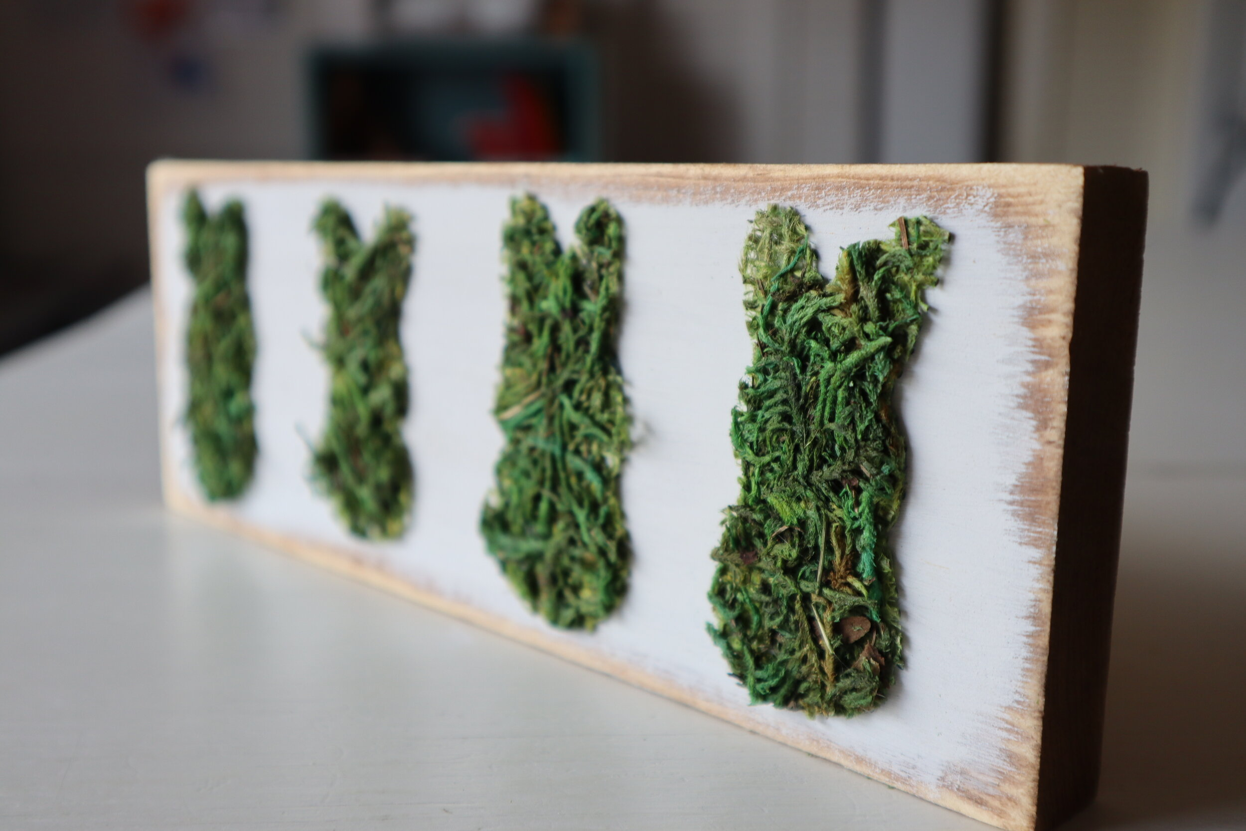 Dollar Tree moss bunny peeps on wood + FREE SVG