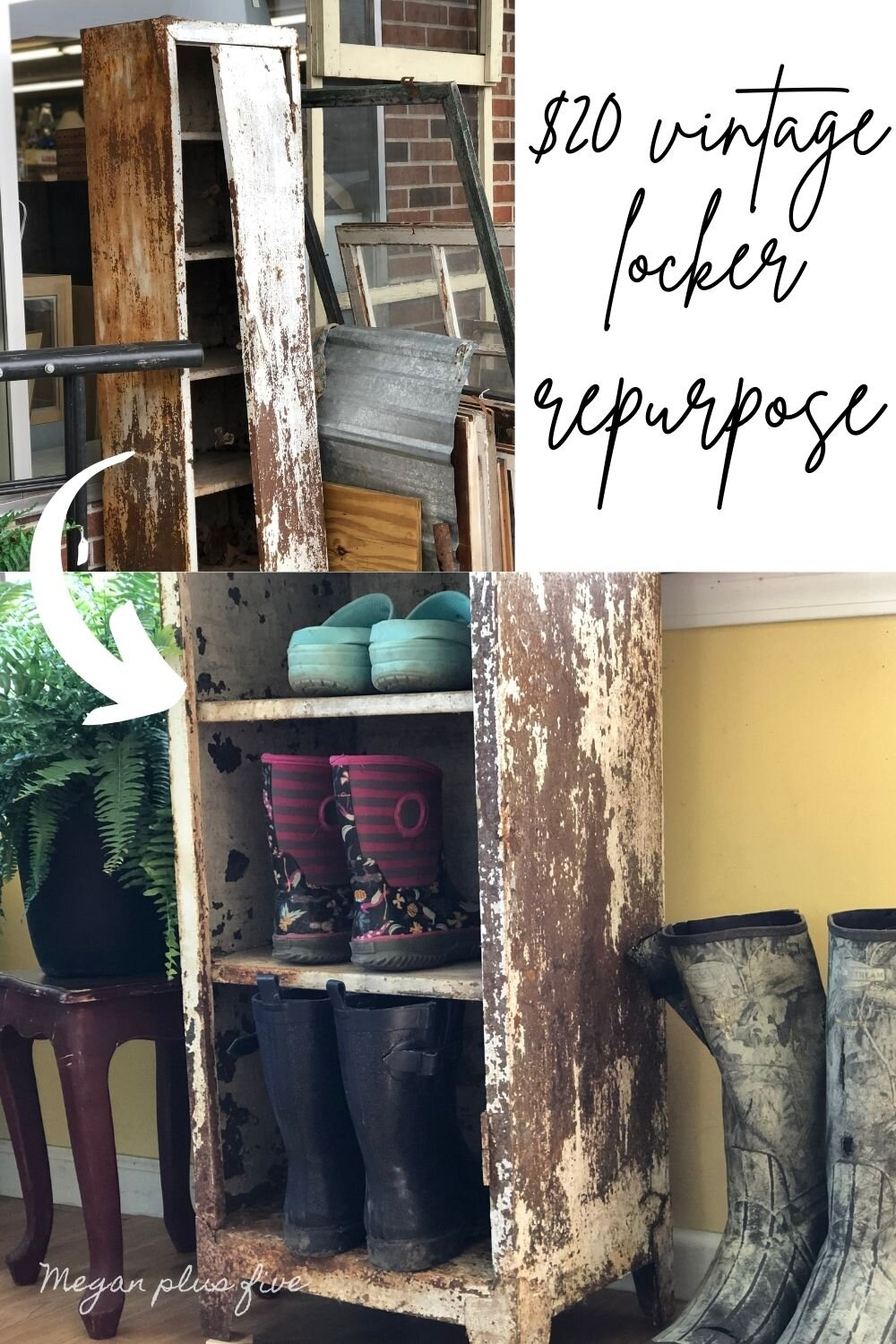 Rusty locker / metal cabinet repurposed for a mudroom sunporch. Turn an antique chipped paint locker into a shoe holder for your mudroom. Frugal rustic farmhouse furniture for your storage needs.