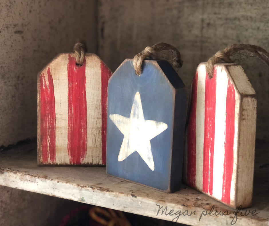DIY wood tags for Fourth of July made from a 1x4. Tiered tray rustic farmhouse wooden tags for the 4th of July. Red white and blue patriotic farmhouse rustic DIY decorations for coffee bar.