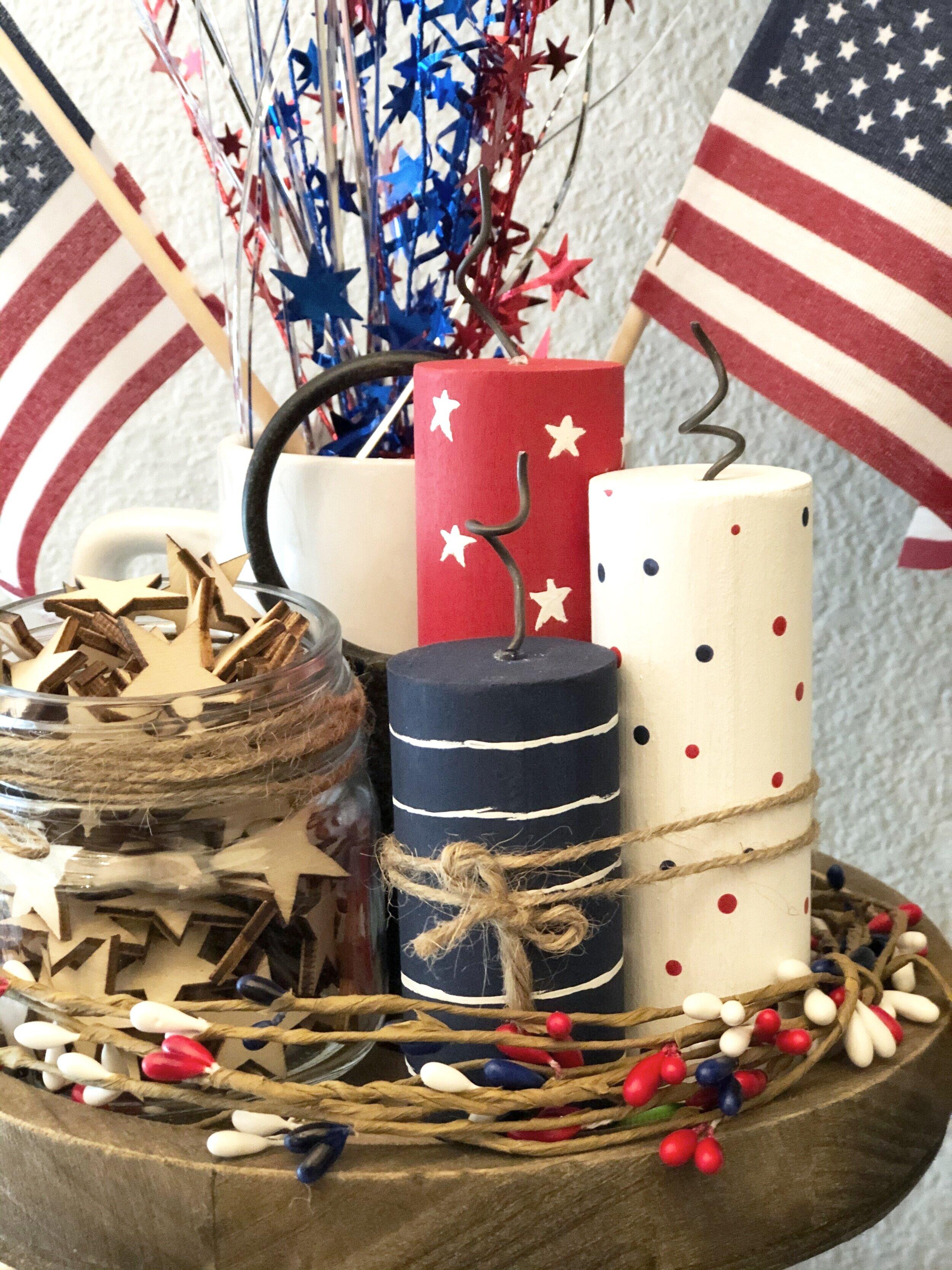DIY patriotic tiered tray fireworks display