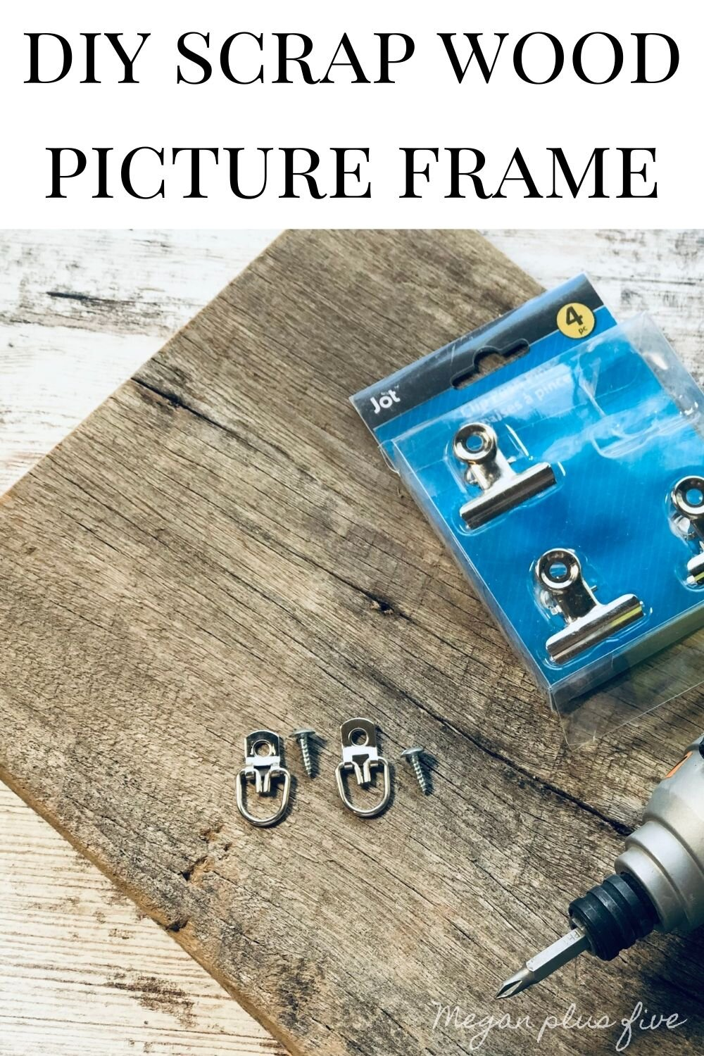 DIY scrap wood picture holder using reclaimed barn wood. How to make an easy picture frame using items from the Dollar Tree. Hanging picture holder easy craft project.