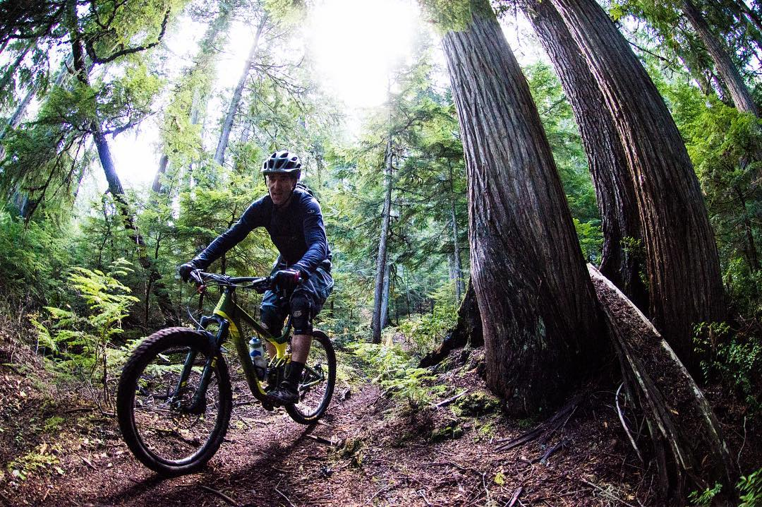 Adventure Tourism, Canada. Beautiful British Columbia. Vertical Mountain Biking.