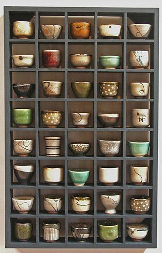 An array of matcha bowls, chasen.