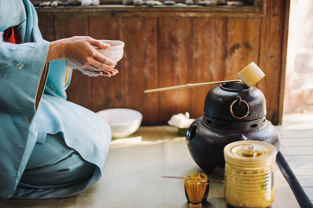 Japanese tea ceremony with matcha.