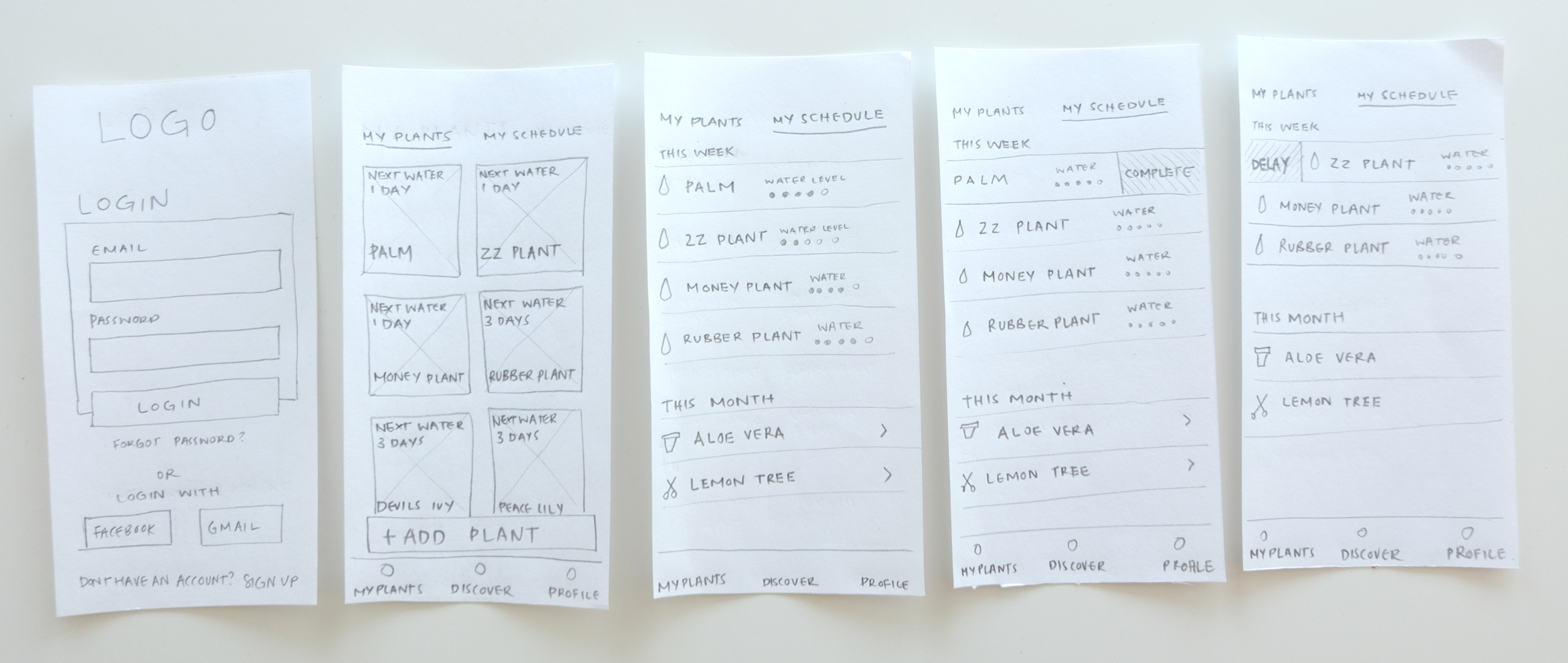 Hand drawn wireframes of login, my plants and plant schedule