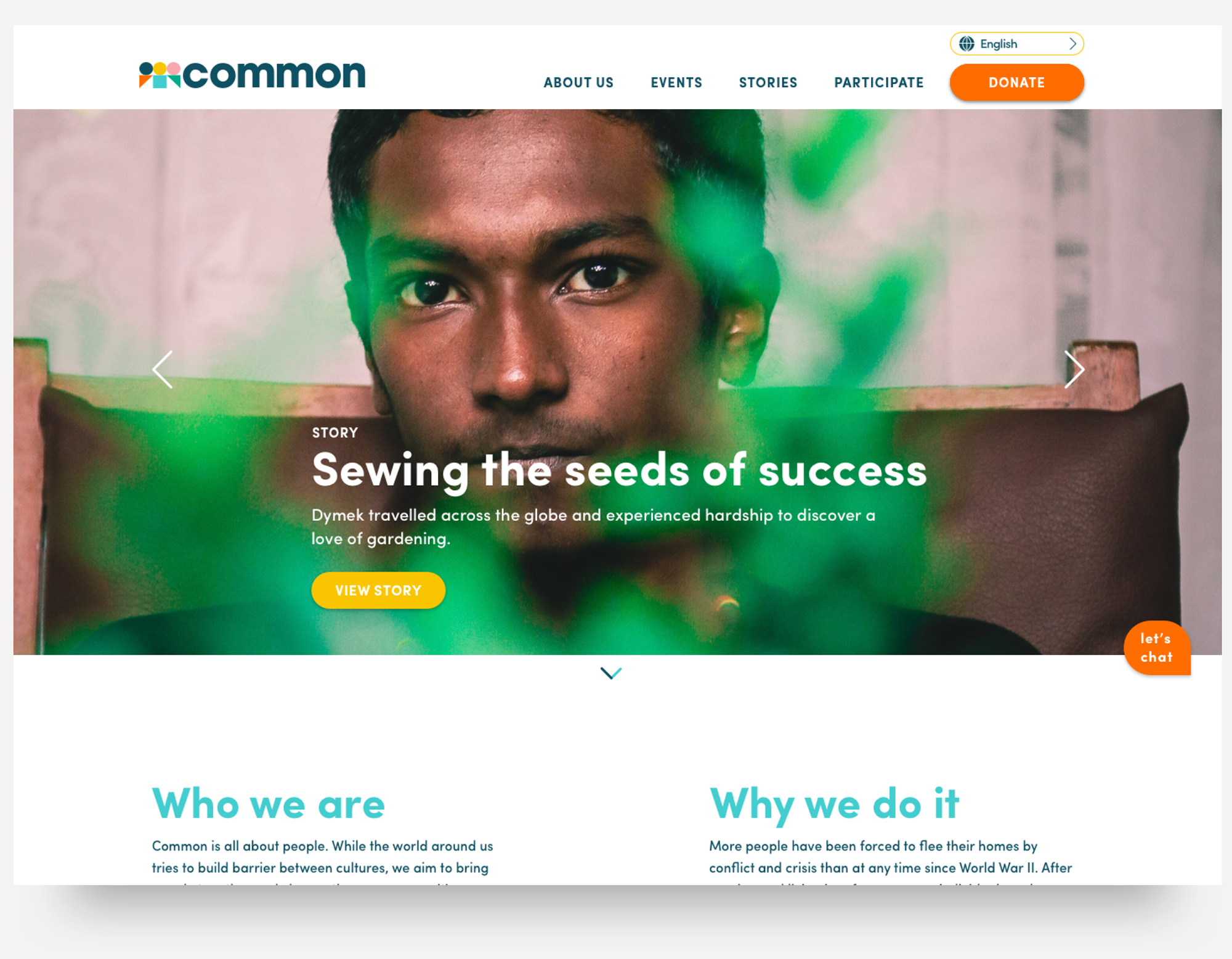 The homepage starts with an individual story to humanize the experience.