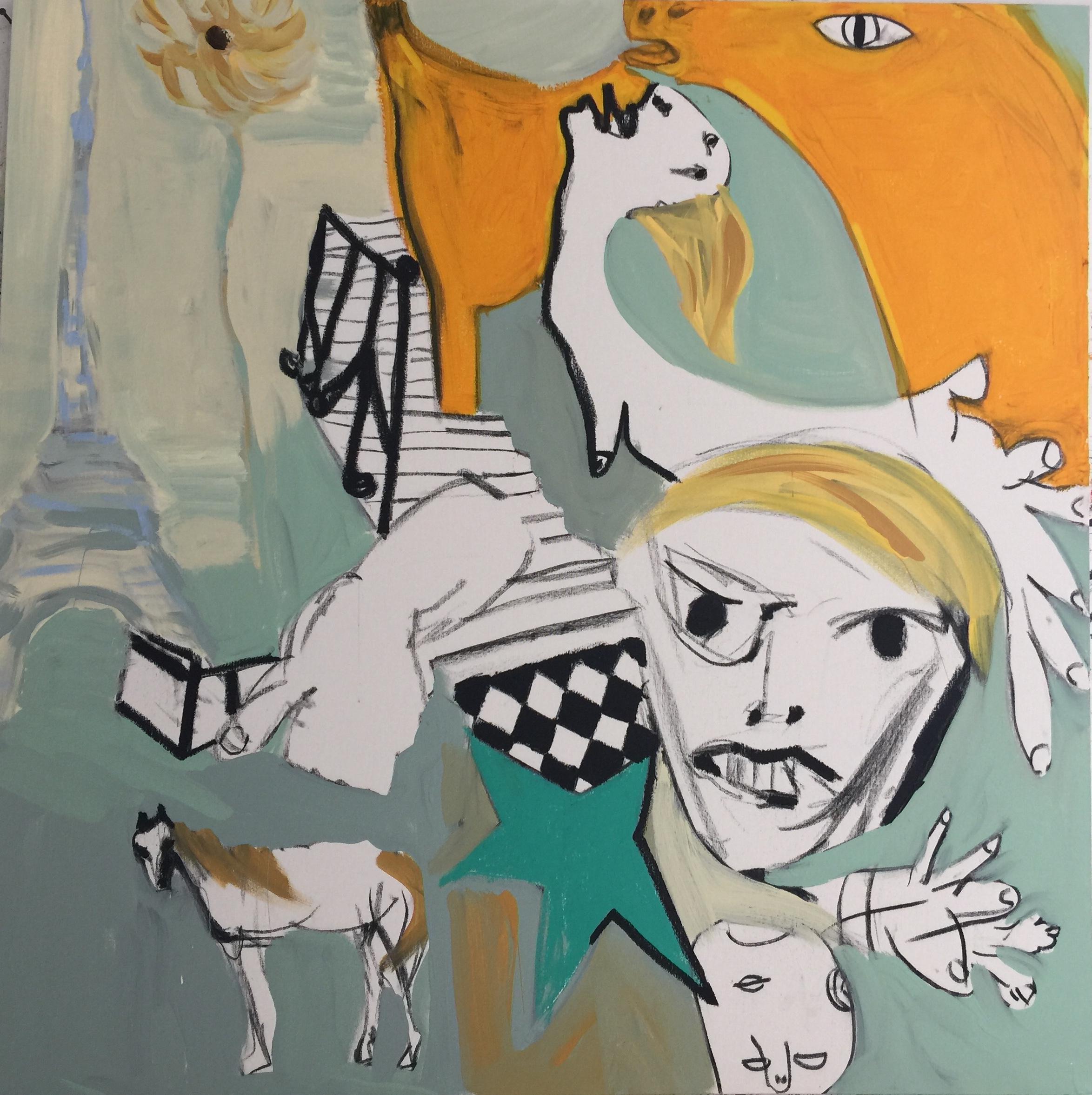 Patti Smith Land 250: Escalier, Hotel Chelsea; Robert Mapplethorpe, Hotel Chelsea Sept 1969; L'etoile de Robert, Londres; Mon cheval, Namibie Afrique;Tour Eiffel,Paris;Detail,Guernica, Madrid;Jesse Tenant une fleur;Femme de Kooning,MoMa April 1968  Acrylic, oil, oil stick, and charcoal on canvas, 2018  40 x 40 in