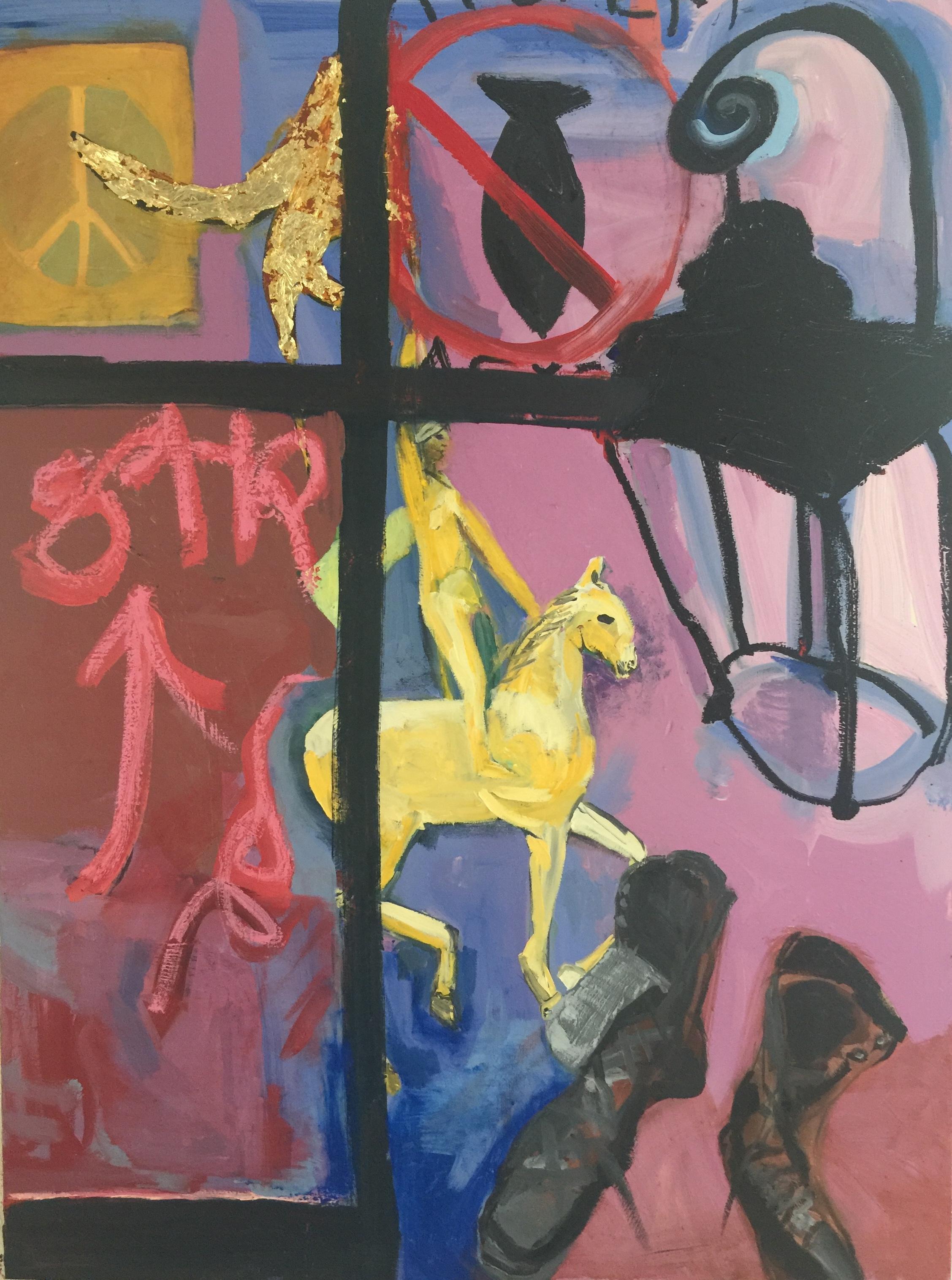 """Patti Smith Land 250: Lantern, Place des Vosges; Jeanne d""""Arc Hotel Regina, Paris; La Porte de mon studio, New York; Chaussures de travail."""