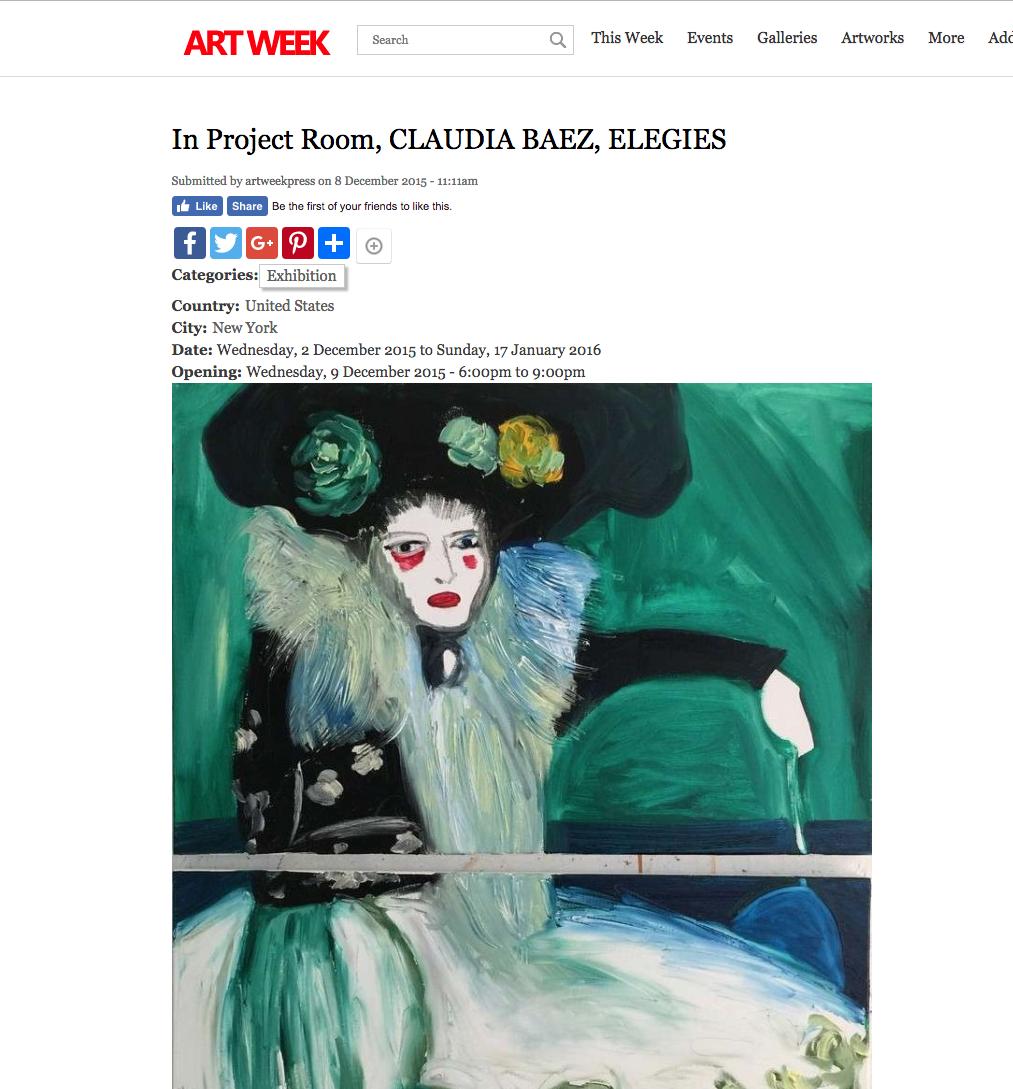 ARTWEEK: In Project Room CLAUDIA BAEZ ELEGIES   2015