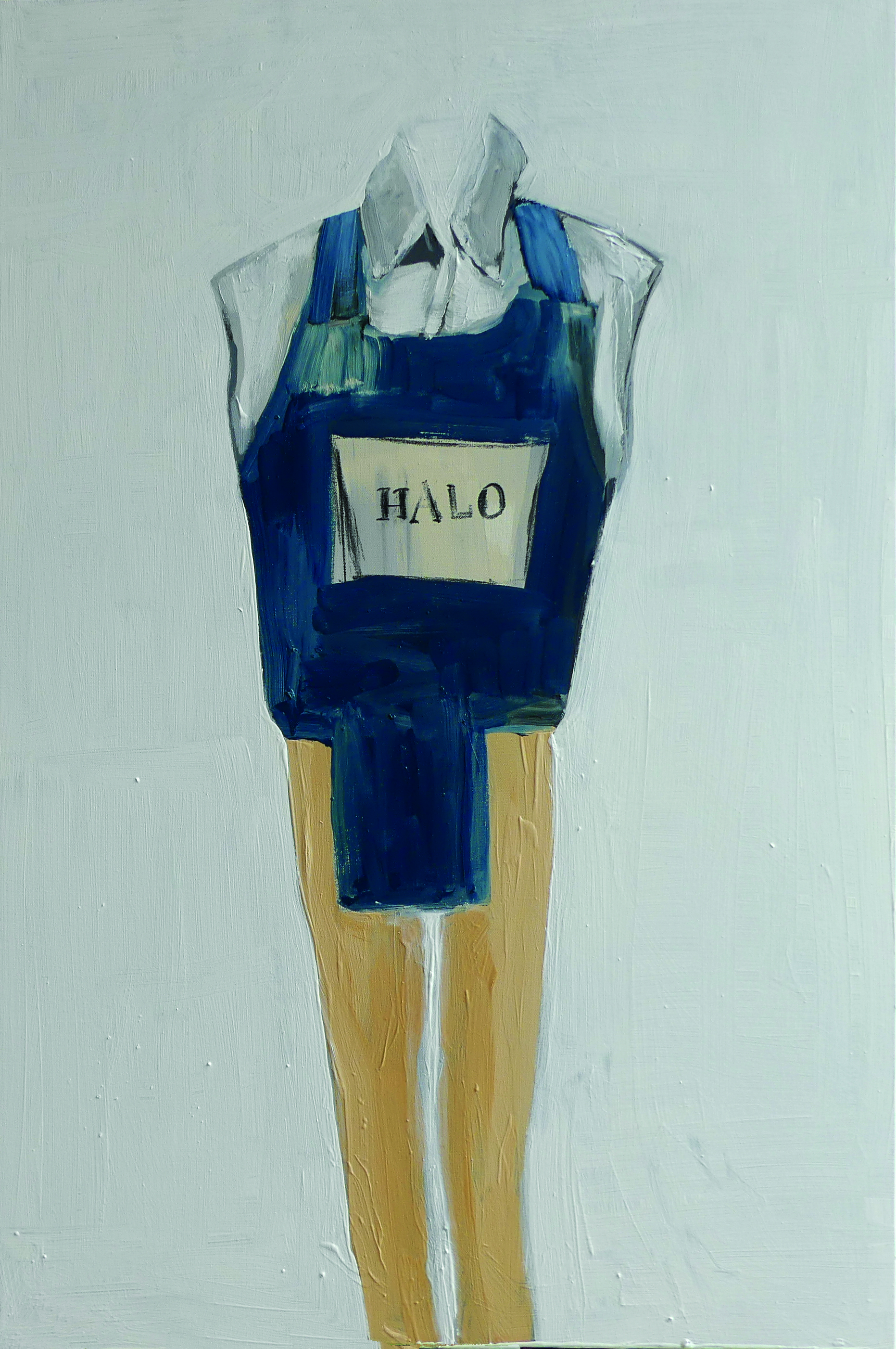 Shirt chinos and flak-jacket (body armour) now faded hand drawn logo of the Halo Trust worn: Angola, January 1997