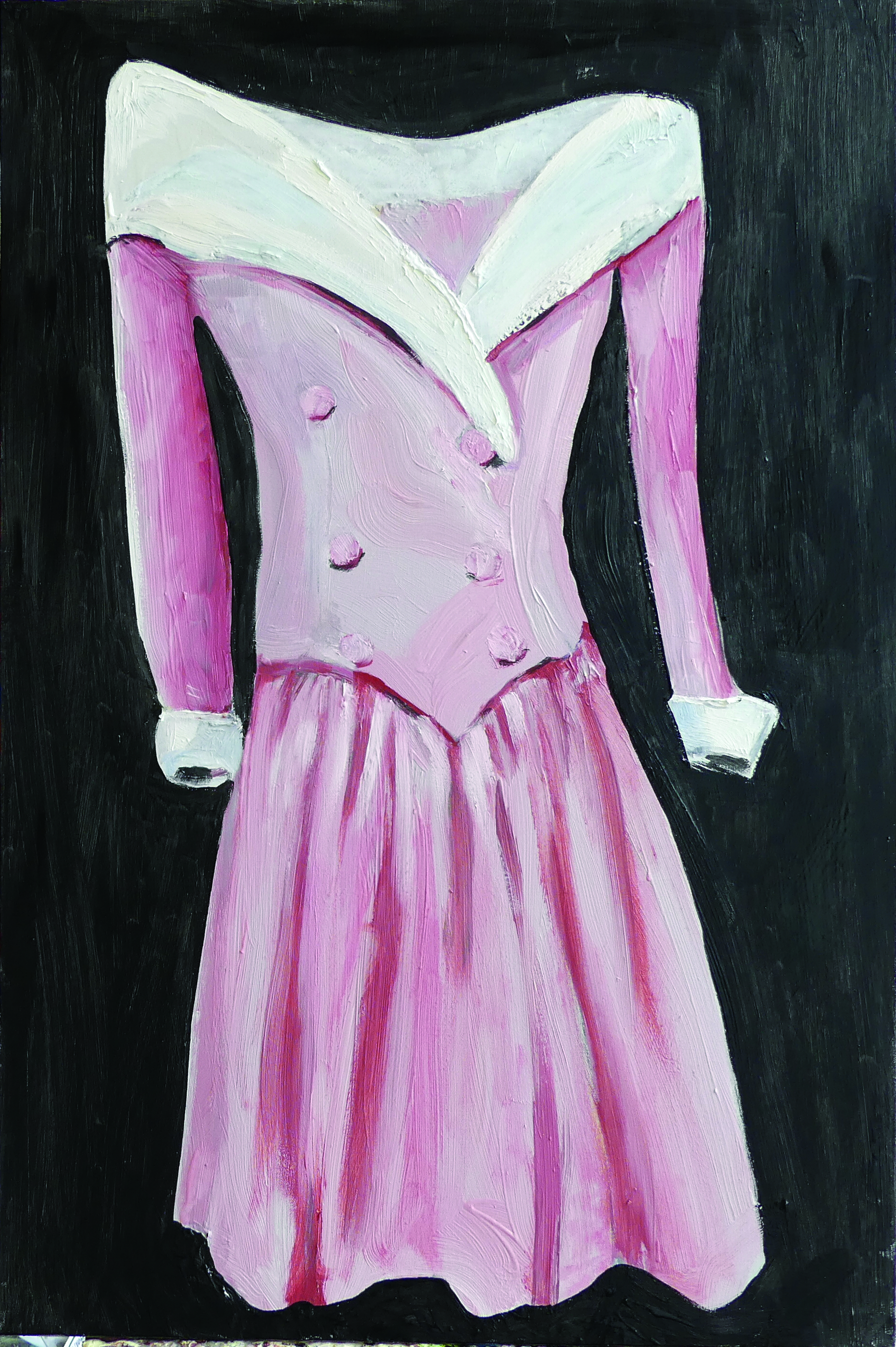 Pink satin evening gown with white raw silk collar and cuffs by Catherine Walker for Lady Diana 1987 worn: Official portrait, 1987 official visit to Germany, 1987 and Turkey, 1988; formal banquet for the president of India, 1990  2018  Acrylic, oil, oil stick, and charcoal on canvas  30 x 24 in