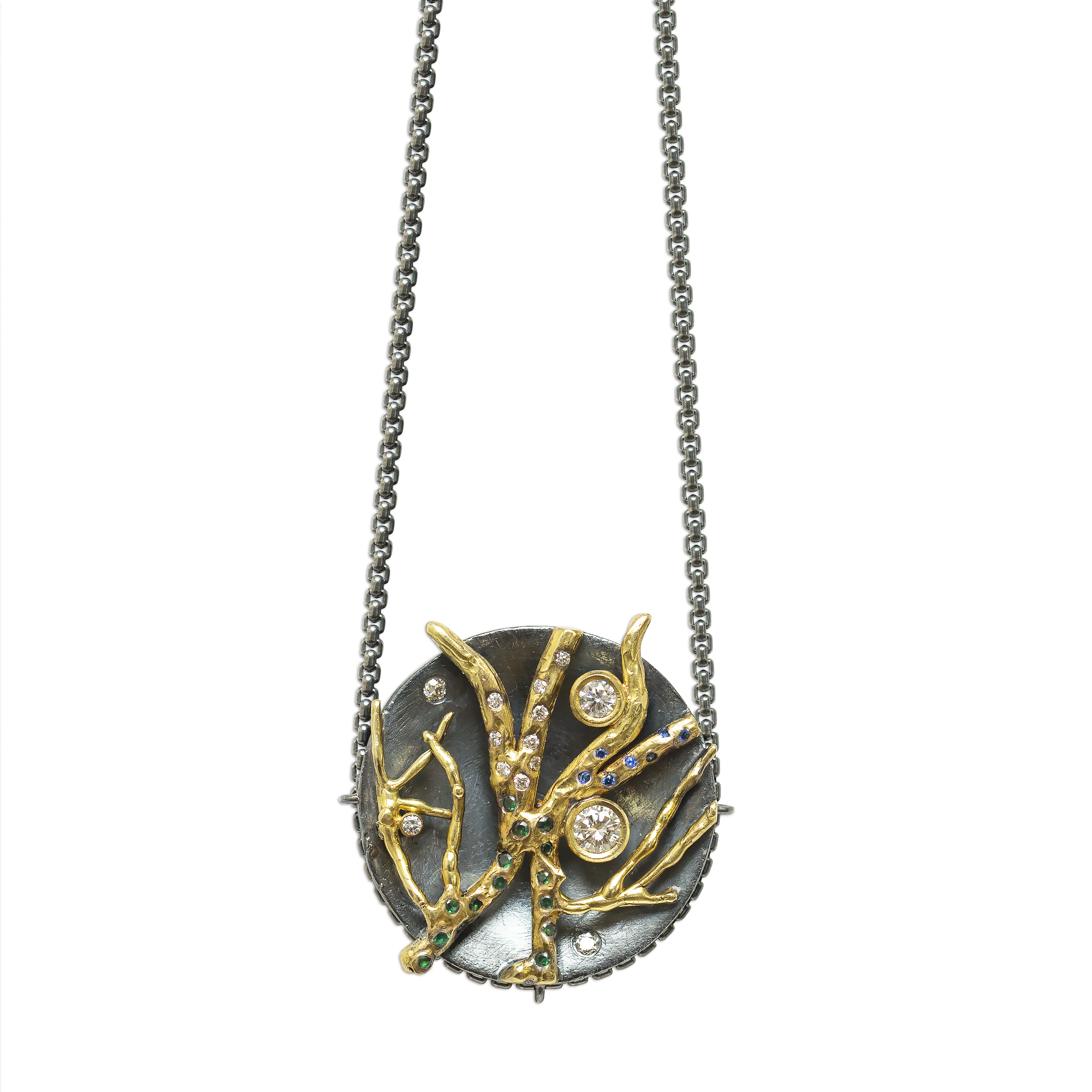 sterling silver concave top pulley with 18k gold branches |                                                         brilliant white diamonds, sapphires and emeralds
