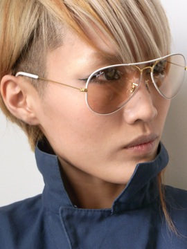 RayBan[METAL FLYING COLORS White on Gold/Changeable Brown]