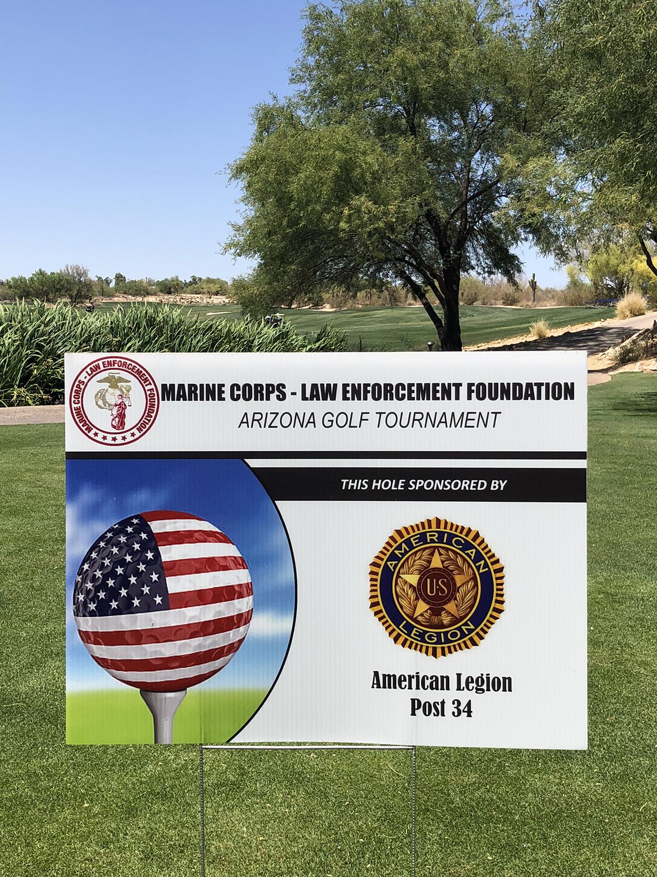 Sponsor sign for American Legion Post 34