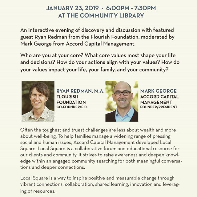 Join Ryan Redman and Mark George for Mindful Money - A Journey Into Our Personal Values .  Jan. 23rd - 6-7:30pm - Community Library