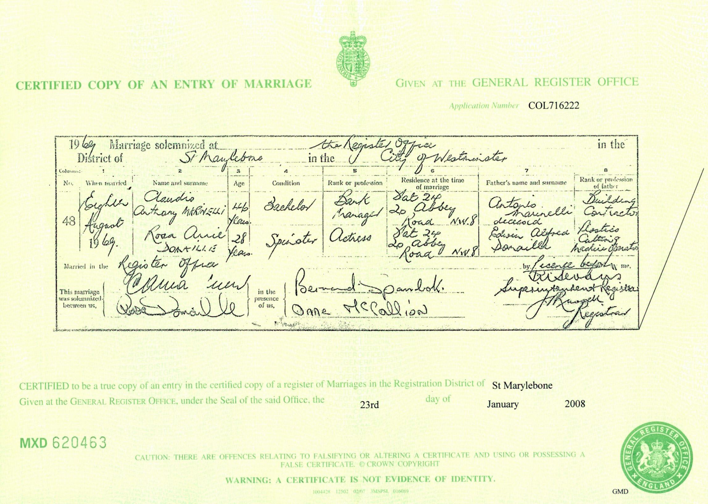 Rosa Domaille Marriage Certificate