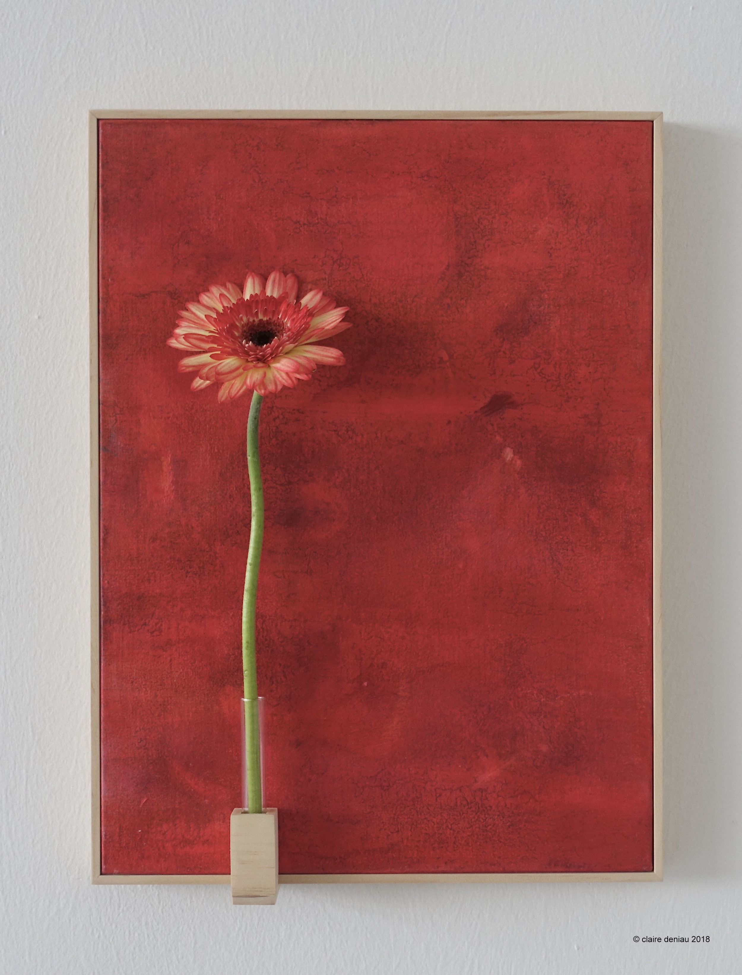 YOU + ME - 4 (with fresh flower 1), Acrylic on linen, wood, glass, fresh flower 40.5 x 30 cm 2018.jpg