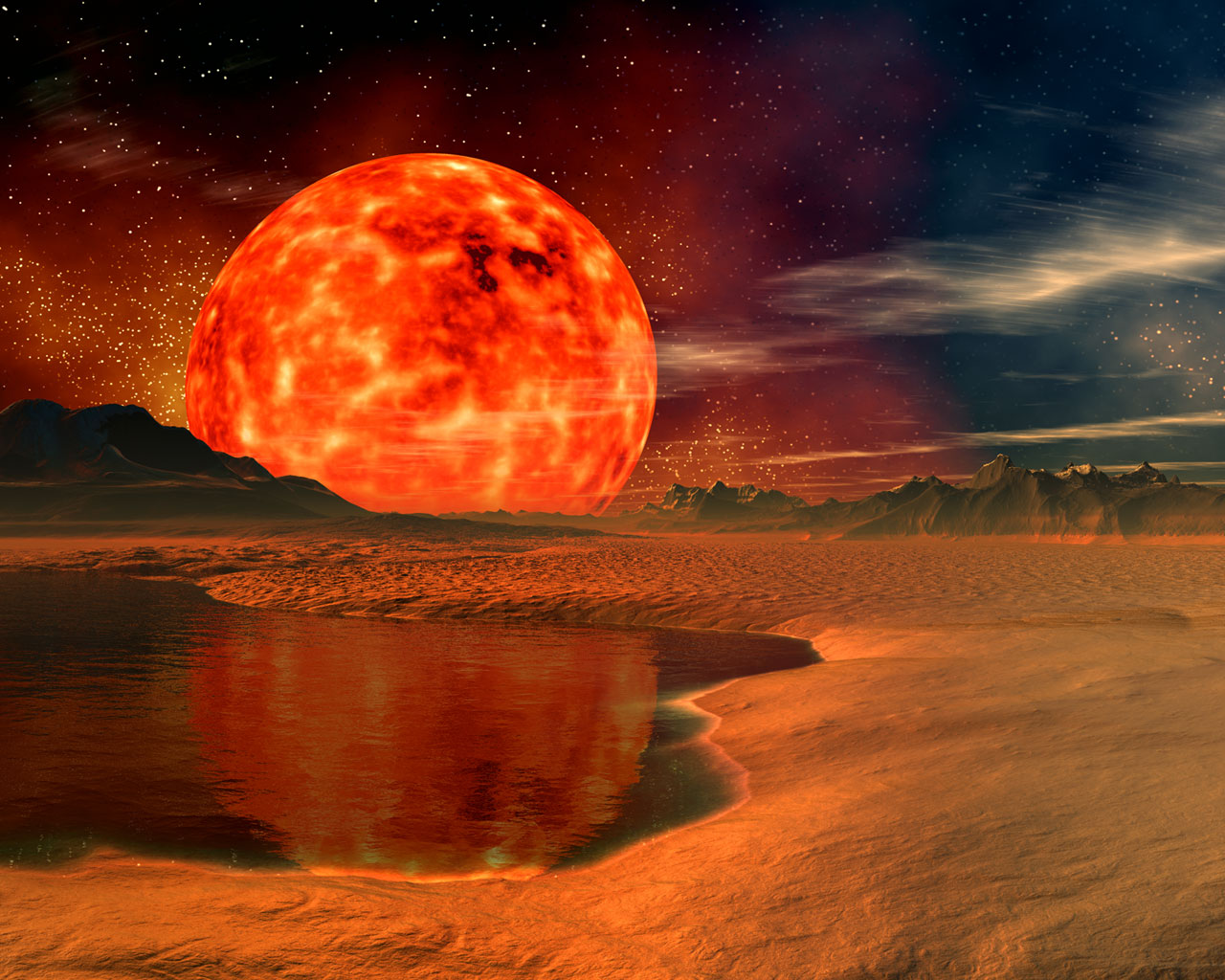 A red giant over a desert world.