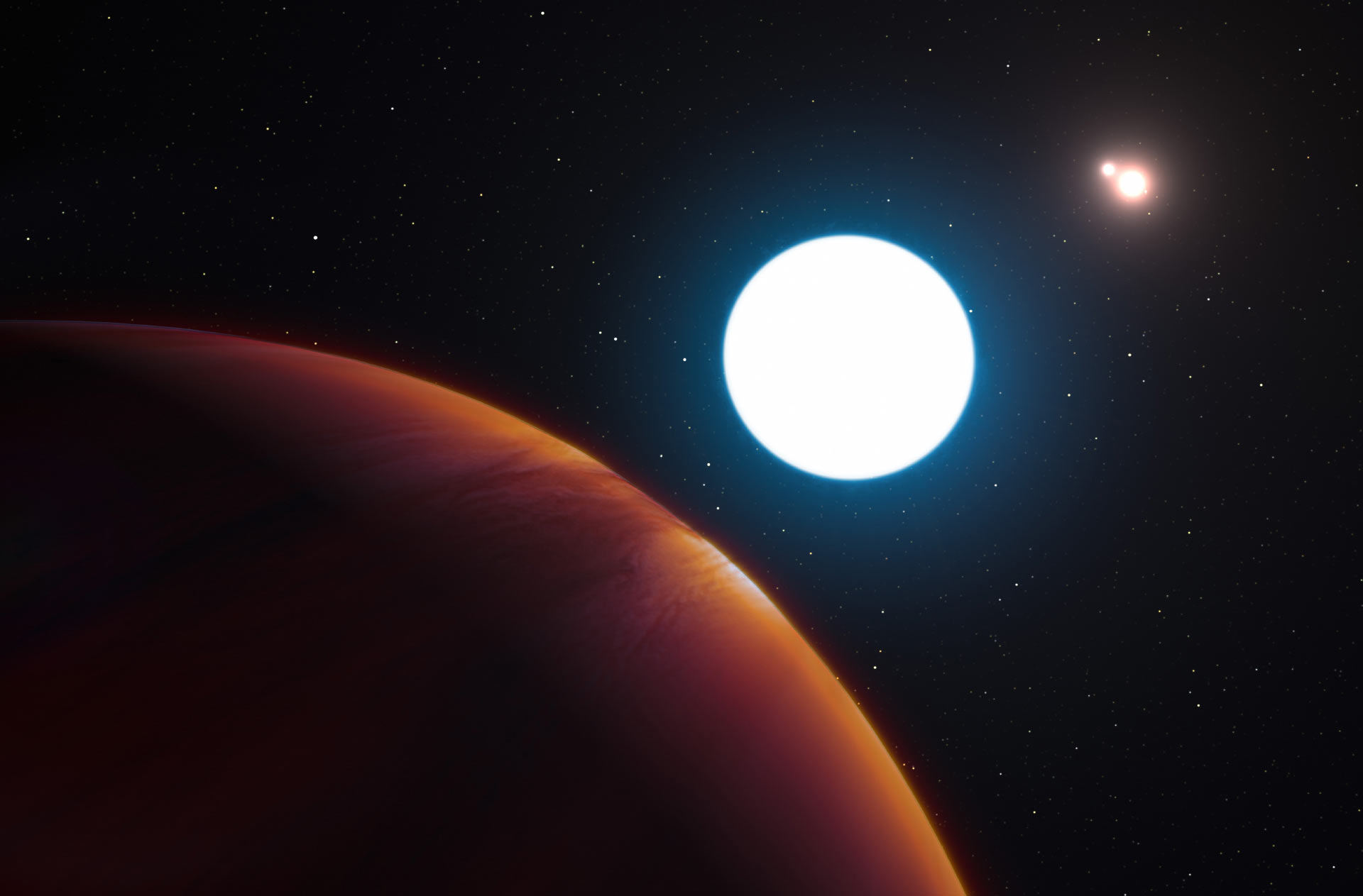 The planet HD 131399Ab with its parent stars.